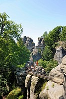 Bastei rock formation, Elbsandsteingebirge Elbe Sandstone Mountains, Saxon Switzerland, Saxony, Germany, Europe