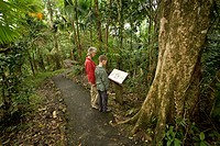 Caribbean, Puerto Rico, El Yunque rain forest, Caribbean National Forest. Mother and son age 10 at sign on nature trail. MR