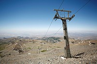 Ski lift, Sierra Nevada National Park, Pico del Veleta, 3384m, Andalucia, southern Spain, Europe