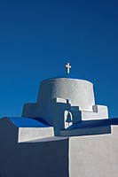 Greece, Serifos. Late afternoon sun creates shadows on a traditional Greek Orthodox church. Credit: Nancy Noble Gardner / Jaynes Gallery / DanitaDelim...