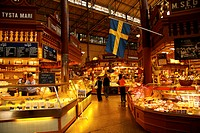Sweden, Stockholm. Interior of a food market in central Stockholm. Credit: Nancy & Steve Ross / Jaynes Gallery / DanitaDelimont.com