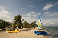 Hobiecat sailboat and kayaks on beach with palm trees by Caribbean Sea, Jaguar Reef Lodge, Hopkins, Stann Creek District, Belize. PR