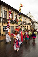 Ecuador, Pinchincha Province, Quito. Procession during Holy Week Semana Santa on the Tuesday before Easter called Entrada de los Jocheros