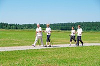 Young and old, Nordic Walking in the Allgaeu, Germany, Europe