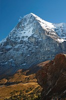 Mt Eiger seen from Kleine Scheidegg mountain pass, Bernese Oberland, Canton Bern, Switzerland, Europe