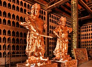 Restored statues on the construction site of the Chua Bai Dinh pagoda, one of the largest pagodas in Southeast Asia, near Ninh Binh, Vietnam, Southeas...
