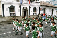 Ecuador, Riobamba, group of children, street scene.