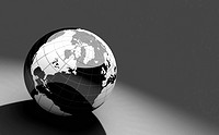 black and white 3d globe