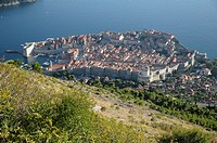 Croatia, Dubrovnik old town seen from top of Srd hill