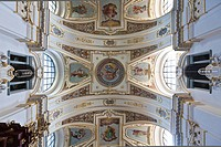 Northern section of the ceiling of the Basilica of St. Lorenz, a former Benedictine abbey church of the Prince Abbot of Kempten, today the Parish Chur...