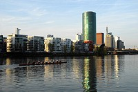 Rowing boat on the river, Westhafen Tower in the Gutleutviertel quarter, Frankfurt am Main, Hesse, Germany, Europa