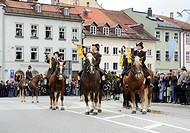 Leonhardifahrt, a procession with horses for the feast day of Saint Leonard of Noblac, fanfare of the Toelzer Schuetzenkompanie, Bad Toelz, Upper Bava...