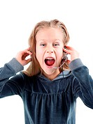 shocked little girl with headset.