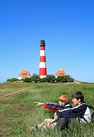 Westerhever Lighthouse, North Sea coast, Schleswig_Holstein, northern Germany, Germany, Europe