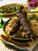 Kebabs with rice