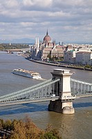 Chain Bridge and Hungarian parliament with the Danube river in Budapest, Hungary, Europe