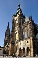 Wenzelsturm, Tower of Saint Wenzel, golden portal of the Gothic St. Vitus Cathedral, Prague Castle, Hradcany, Prague, Bohemia, Czech Republic, Europe