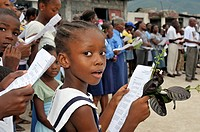 Girl during a church service for the victims of the earthquake in January 2010, Fort National district, Port-au-Prince, Haiti, Caribbean, Central Amer...