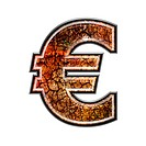 3d currency sign with grunge texture _ Euro