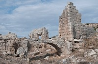 Ancient basilica, Perga, a large site of ancient ruins, Antalya, Turkish Riviera, Turkey, Asia