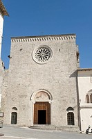 Church Santa Maria del Popolo, romanesque façade, modified in 1695, with rose window, Cittaducale, province of Rieti, Latium, Italy, Europe