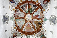 Ceiling fresco, Holy Spirit Spitalkirche church, Fussen, Ostallgaeu, Allgaeu, Swabia, Bavaria, Germany, Europe