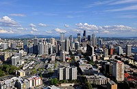 View from Space Needle to the southeast, Skyline Financial District Seattle with Columbia Center, formerly Bank of America Tower, Wells Fargo Building...