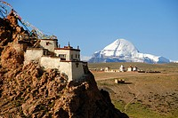 Tibetan Buddhism, monastery on the mountain slope, rocks, Chiu Gompa, snow_covered sacred Mount Kailash, south side with channel, Gang_Tise_Mountains,...