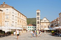 Main square of Hvar Town, Hvar Island, Central Dalmatia, Adriatic Coast, Croatia, Europe