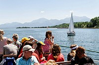 Tourists on a ferry, lake Chiemsee, Chiemgau, Upper Bavaria, Germany, Europe