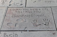 Humphrey Bogart, hands and footprints, Hollywood Boulevard, Los Angeles, California, USA