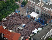 Aerial picture, public screening, Football World Cup 2010, the match Germany vs Australia 4-0, Friedensplatz square, Dortmund, Ruhr district, North Rh...
