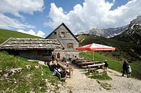Plumsjoch hut on Plumsjoch mountain in Eng in the Karwendel mountain range, Rissbachtal valley, Tyrol, Austria, Europe