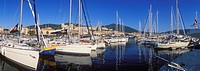 Sailing boats in the port of Ajaccio, Corsica, France, Europe