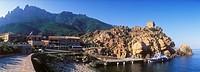 Genoese watchtower, rocky coast of Porto, Gulf of Porto, Corsica, France, Europe