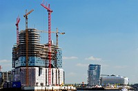 Construction site of the Elbe Philharmonic Hall in Hamburg, Germany, Europe