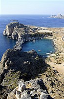 View towards the St Pauls Bay from the Acropolis at Lindos , Rhodes , Dodecanese , Greece