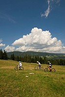 Switzerland, Vaud, sport, nature, clouds, meadow, Sainte_Croix, Mont de Baulmes, riding a bike, riding a bicycle, cycling, group