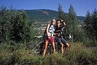 Sport, woman, man, Switzerland, Valais, bicycle, wheel, bicycle, bicycle, bike, meadow, couple, riding a bike, nature, Sion