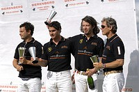 Lucas Labat, Martin Podesta, Sebastian Schneeberger, Dr. Piero Diller, from left, Team Berenberg with trophies, polo, polo players, polo tournament, B...