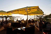 Restaurant with view across the bay, Bodden, island of Ruegen, Mecklenburg_Vorpommern, Germany
