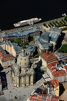 Aerial view, Frauenkirche Church of Our Lady, Dresden, Saxony, Germany, Europe