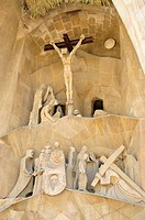 Detail of the Passion Portal of Sagrada Familia, designed the most famous Spanish architect Antoni Gaudí in a modernist style, Barcelona, Spain, Iberi...