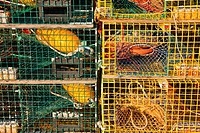 Lobster traps stacked on a dock