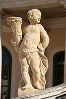 Boy statue on the steps of Eszterháza palace, Fertoed, Hungary, Europe