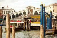 The Grand Canal near the Rialto vaporetto stop and the Ponte di Rialto in Venice, Veneto, Italy