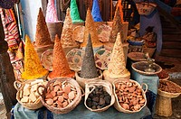 Street spice shop in Chaouen, Morocco, also known as ´The Blue Village´ due to the pigment traditionally embedded in the plaster