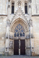 Entrance, Liebfrauen-Ueberwasserkirche Church, Muenster, Muensterland, North Rhine-Westfalia, Germany, Europa