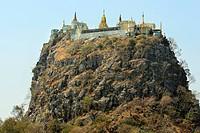Pagoda on the rocks, Mount Popa, Myanmar, Burma, Southeast Asia