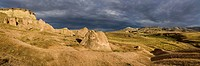 Panorama, stormy atmosphere over tufa landscape with cave dwellings, Cappadocia, Anatolia, Turkey, Asia